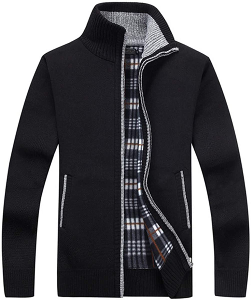 FOFJR Men's Casual Slim Full Zip Thick Knitted Cardigan Sweaters with Pockets