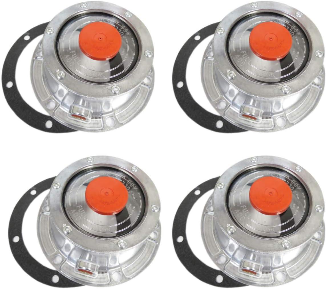 Replaces Stemco 343-4009 Torque Trailer Hub Cap w// Oil Port /& Side Fill Plug