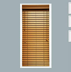 TailorView, Custom Made Faux Wood Horizontal Window Blinds, 2 Inch Slats, Color - Honey Maple (Golden Oak,) Outside or Inside Mount, Corded or Cordless