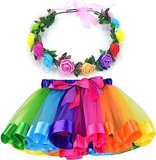 MY-PRETTYGS Layered Tulle Ballet Rainbow Tutu Skirt with Flower Crown Wreath Headband (A Rainbow, L,4-8T)