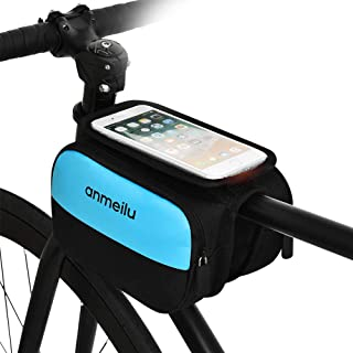 JHM Bike Frame Bag, Bicycle Phone Holder, Waterproof Cycling Front Top Tube Pouch Bike Frame Phone Mount Crossbar Storage ...