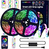GUSODOR LED Strip Lights RGB Strips 32.8ft Waterproof Tape Light 300 LEDs SMD5050 Music Sync Color Changing +24Key Remote Control Decoration for Home Bedroom TV Party Christmas - Smart APP Controlled
