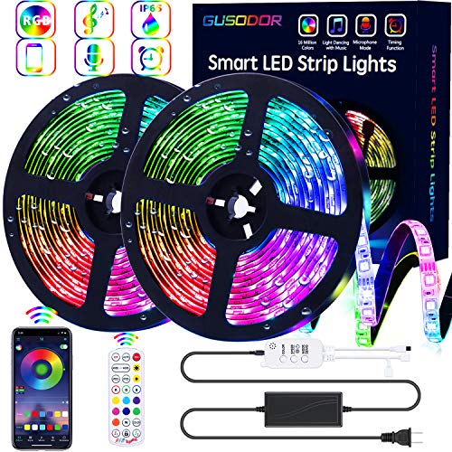 professional GUSODOR LED Strip RGB Strip 32.8ft Light Bar 300 LED SMD5050 Waterproof Music Sync…