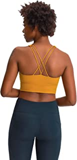 Cross Back Sports Yoga Bras, Women Shockproof Comfort Workout Yoga Bra for Running,Yellow,10