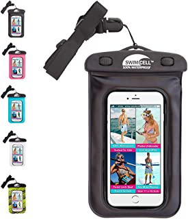 SwimCell 100% Waterproof Bag For Phone, Camera, Money, Keys Black. Tested to 10M. Certified IPX8. Fits Most Phones 10cm x 15cm. Includes all iphones, Samsung Galaxy S3, S4, Note 3, LG G2, Nokia 1020, Nexus 5, HTC One, Blackberry Z30, Windows 8X. Black, Pink and Blue (Black) SCBK01