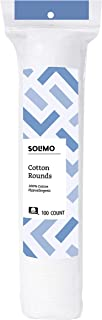 Amazon Brand - Solimo Cotton Rounds, 100ct (Pack of 1)
