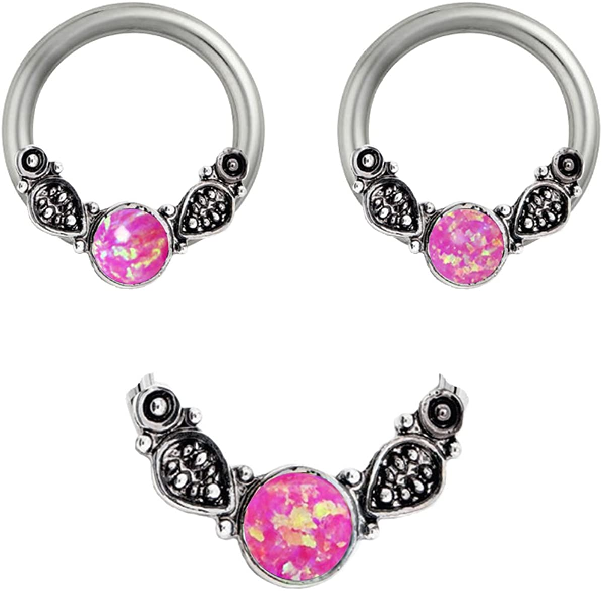 playful piercings Pair of Synthetic Hot Pink Fire Opal Tribal Leafs Captive Ring Lip, Belly, Nipple, Cartilage, Tragus, Septum, Nose, Earring Hoop 10g