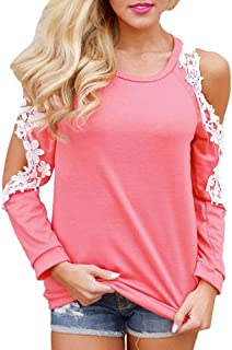 Women Lace Cold Shoulder Long Sleeve Blouse Tops Ladies Casual T Shirt
