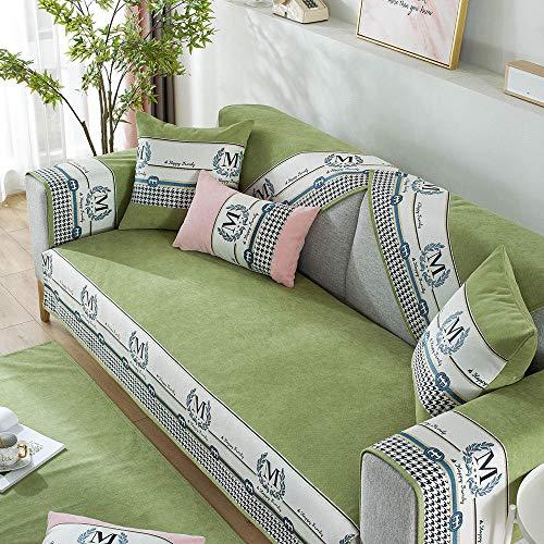 kinfuki Housse Canapé d'angle Couverture de Canapé en Forme de L avec Revêtement Canapé en Tissu,Coussin de canapé Universel en Tissu, Vert thé_70 * 120
