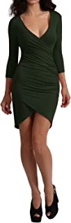Womens Sexy Long Sleeve Dress with Plunged Ruched Front (8 Colors)