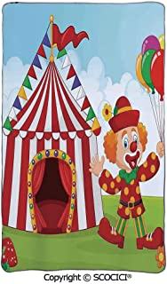 SCOCICI Lightweight Air Conditioning Blanket/Circus Tent with Clown Holding Balloon in The Gree/Soft Warm Cozy Toddler,Infant or Newborn Receiving Blanket for Crib,Stroller, Travel,Decorative