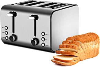 Toaster, 7 Toast Shade Settings toaster 4 slice, Reheat, Defrost and Cancel Function toaster stainless steel 4 slice, Removable Crumb Trays, Stainless Steel