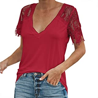 4251487bef02 ℱLOVESOOℱ 2019 Blouse Shirts for Women Sexy V Neck Lace Sleeve Splice Short-Sleeved  Slim