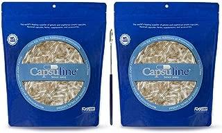 Capsuline Size 00 Gelatin Capsule Kit - 2X 1000 Count Clear Gelatin Capsules + Free Micro Lab Spoon