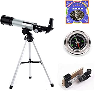 Uhruolo Telescope,50mm Aperture Astronomical Refractor Telescope with Stargazing Chart, Phone Clip,Compass,for Kids Beginners