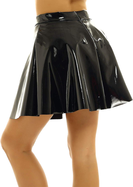 FEESHOW Women's Shiny PVC Leather Flared Pleated Mini Skater Skirt