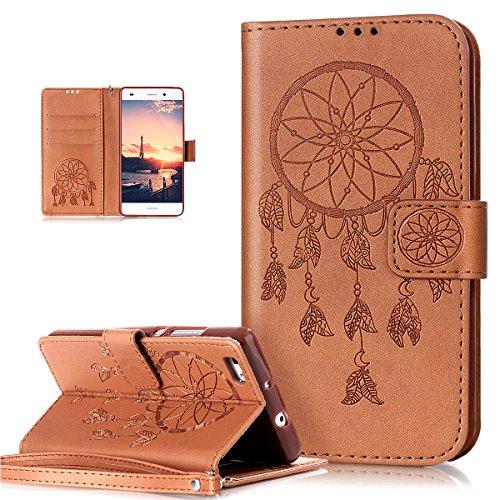 ikasus Coque Huawei P8 Lite Etui Gaufrée Dreamcatcher Etui Housse Cuir PU Portefeuille Folio Flip Case Cover Wallet Carte de crédit Case Coque Housse Etui pour Huawei P8 Lite Coque,brun