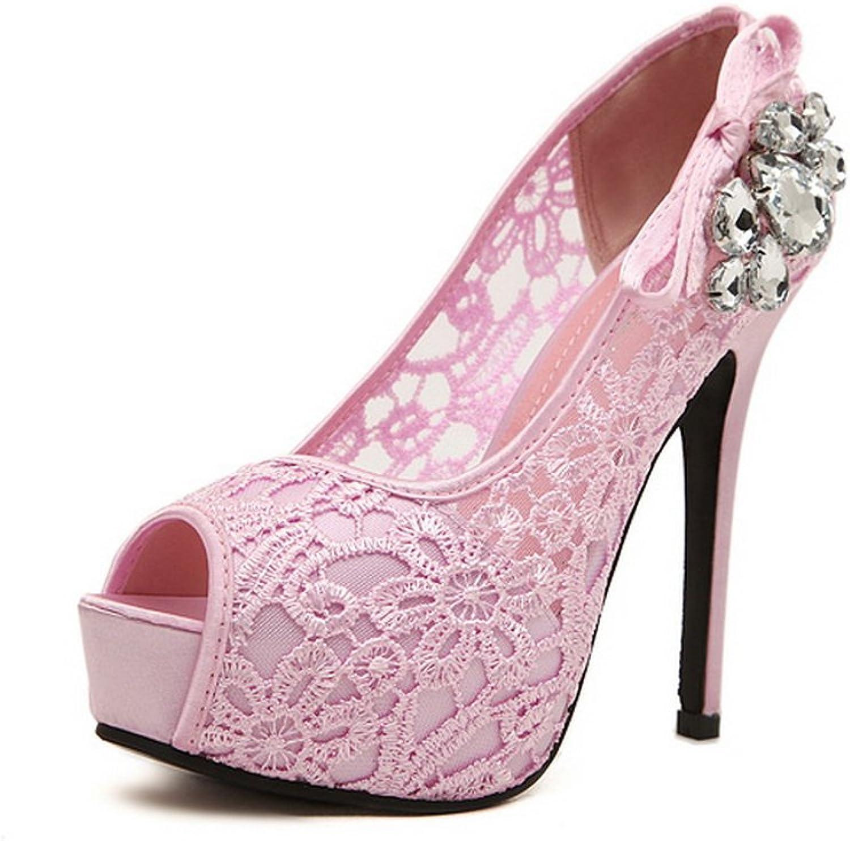 1TO9 Womens Rhinestones Lace Peep-Toe Pink Microfiber Pumps shoes - 7.5 B(M) US