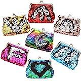 LovesTown Sequin Coin Purses,6 Pcs Reversible Magic Sequins Mini Wallets for Girl Diva Party Favors