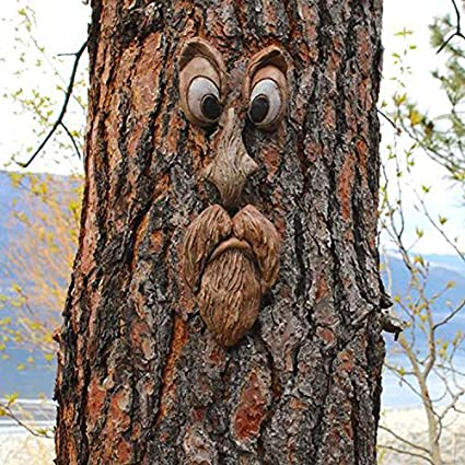 A Decor Garden Artwork of The Tree Face OLOPE Bark Ghost Face Facial Features Decoration Easter Outdoor Creative Props with Parts for Hanging,Art Decorations in The Yard of The Elderly Tree