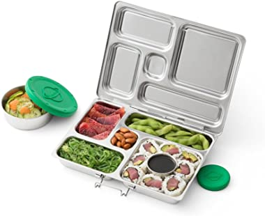 PlanetBox Rover Eco-Friendly Stainless Steel Bento Lunch Box with 5 Compartments for Adults and Kids - Rainbow Carry Bag with