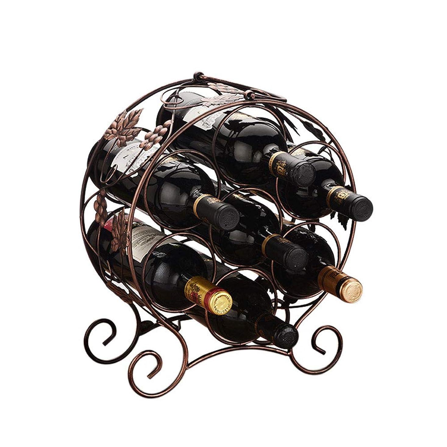 みなす儀式短命ポータブル錬鉄製のワインラック、ユニークなパターンの彫刻デザイン、赤ワインの7本、2色から選ぶことができる(ダークブラウン、ブロンズ) (色 : ブロンズ)