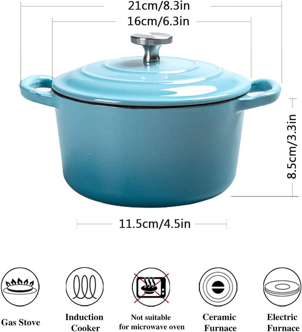 Cocotte Ronde En Fonte Émaillée, Casserole Antiadhésive En Émail, Cocotte Avec Double Poignée Et Couvercle (16 Cm),Bleu Orange