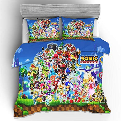 Funda nórdica infantil Juego de cama 3D Sonic (incluida la funda de almohada) Ropa de cama Sonic de microfibra súper suave y cómoda para niños