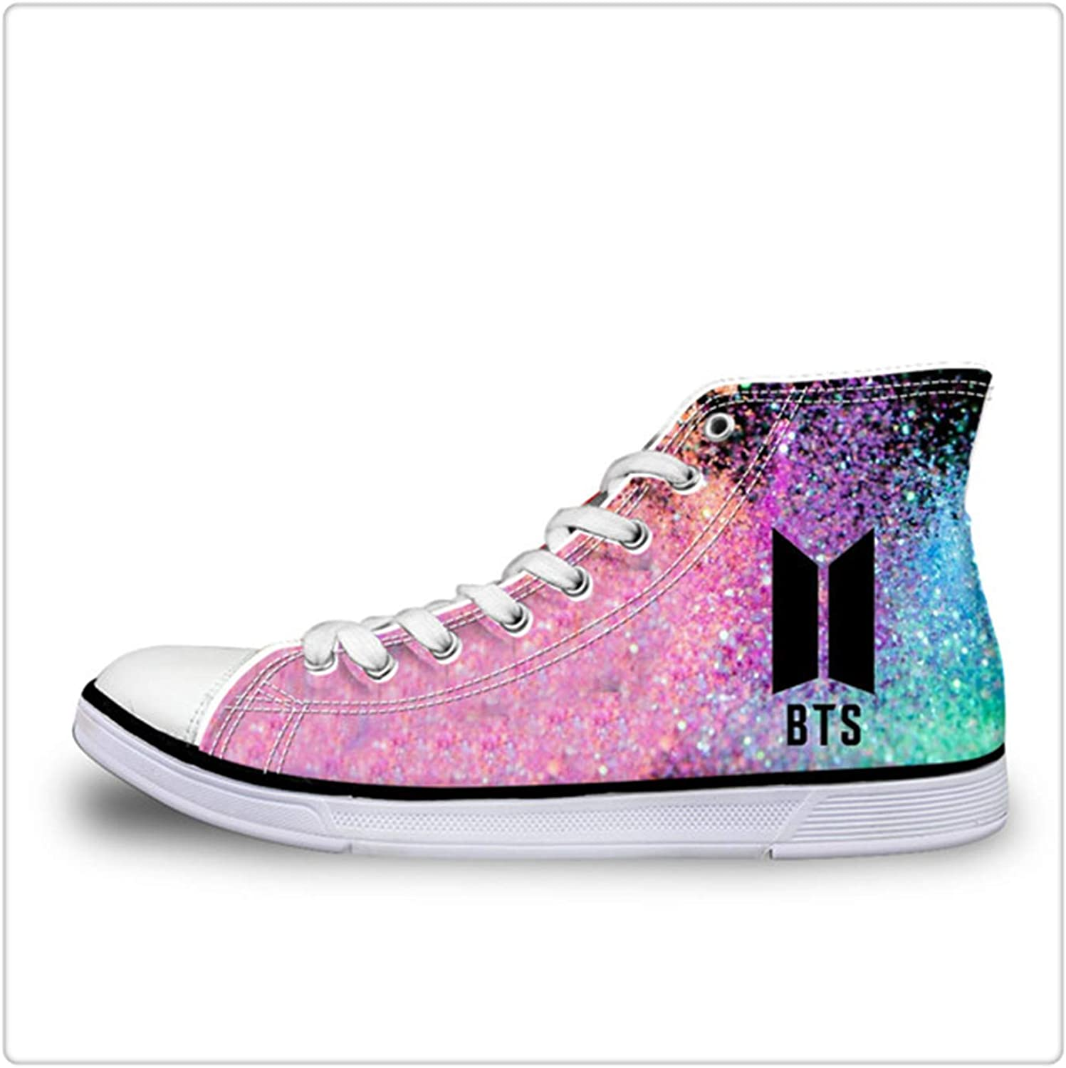 SSLOPY& Women Hot BTS Print High Top Women Vulcanize shoes Classic Lace Up