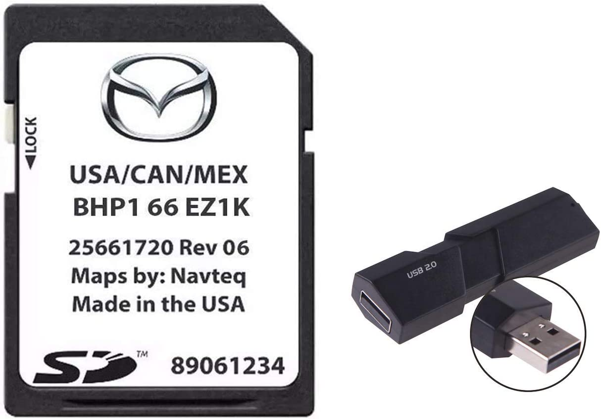 GPS Navigation SD Card BHP166EZ1K Newest 2020-21 US/Mexico/Canada + South America Maps Compatible with Mazda 3|6|CX-3|CX-5|CX-9 EZ1K Update GPS with USB Adapter