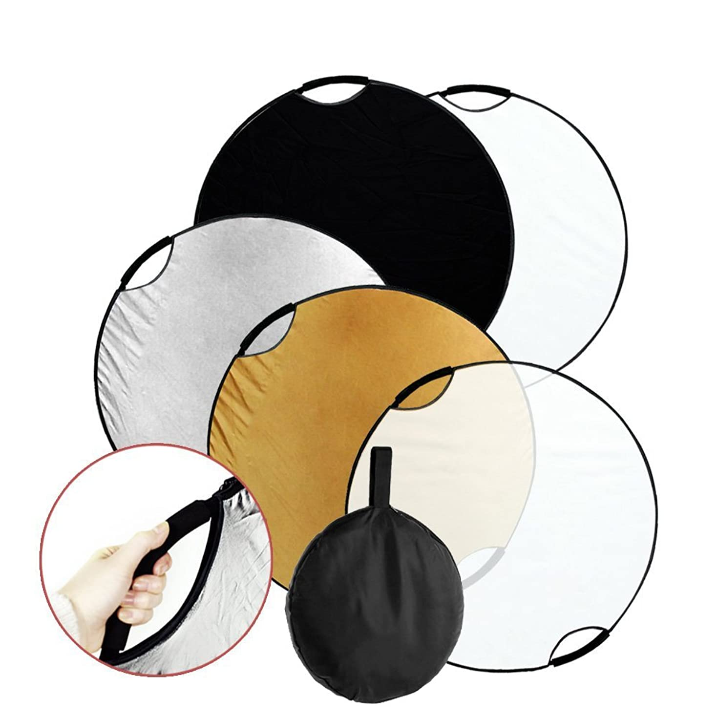 Fairview 5-in-1 43 inch 110cm Collapsible Multi-Disc Light Reflector Handle Disc panel with Carrying bag for Photography Photo Studio Lighting &Outdoor Lighting- Translucent Silver Gold White Black