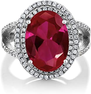 Gem Stone King 925 Sterling Silver Red Created Ruby Women's Solid Cocktail Ring 7.19 Carat 14X10MM Oval Available 5,6,7,8,