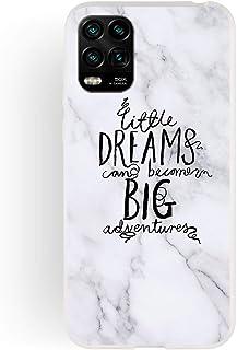 Nodigo Kompatibel med Xiaomi Mi 10 Lite 5G fodral silikon marmor vita fraser mönster skyddande stötfångare matt ultratunn ...