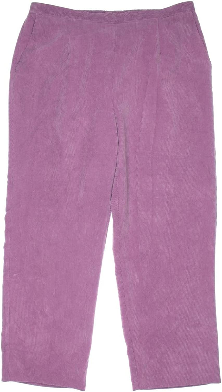 Alfred Dunner Women's Glacier Lake Flat Front Pants (Raspberry Brick, 24W)