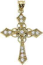 14k Yellow Gold Celtic Cross Diamond fine Pendant