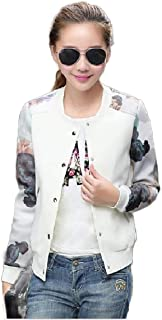 Howely Womens Raglan Button Down Printed Leopard Printed Outwear Varsity Jackets