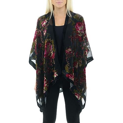 bd7d908e480 Velvet Floral Kimono Cardigan