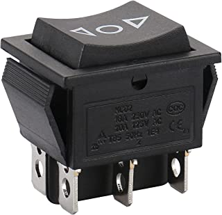 Baomain Momentary 6 Pin Dpdt Button On/Off/On Rocker Switch Ac 250V/10A 125V/15A Black Plastic