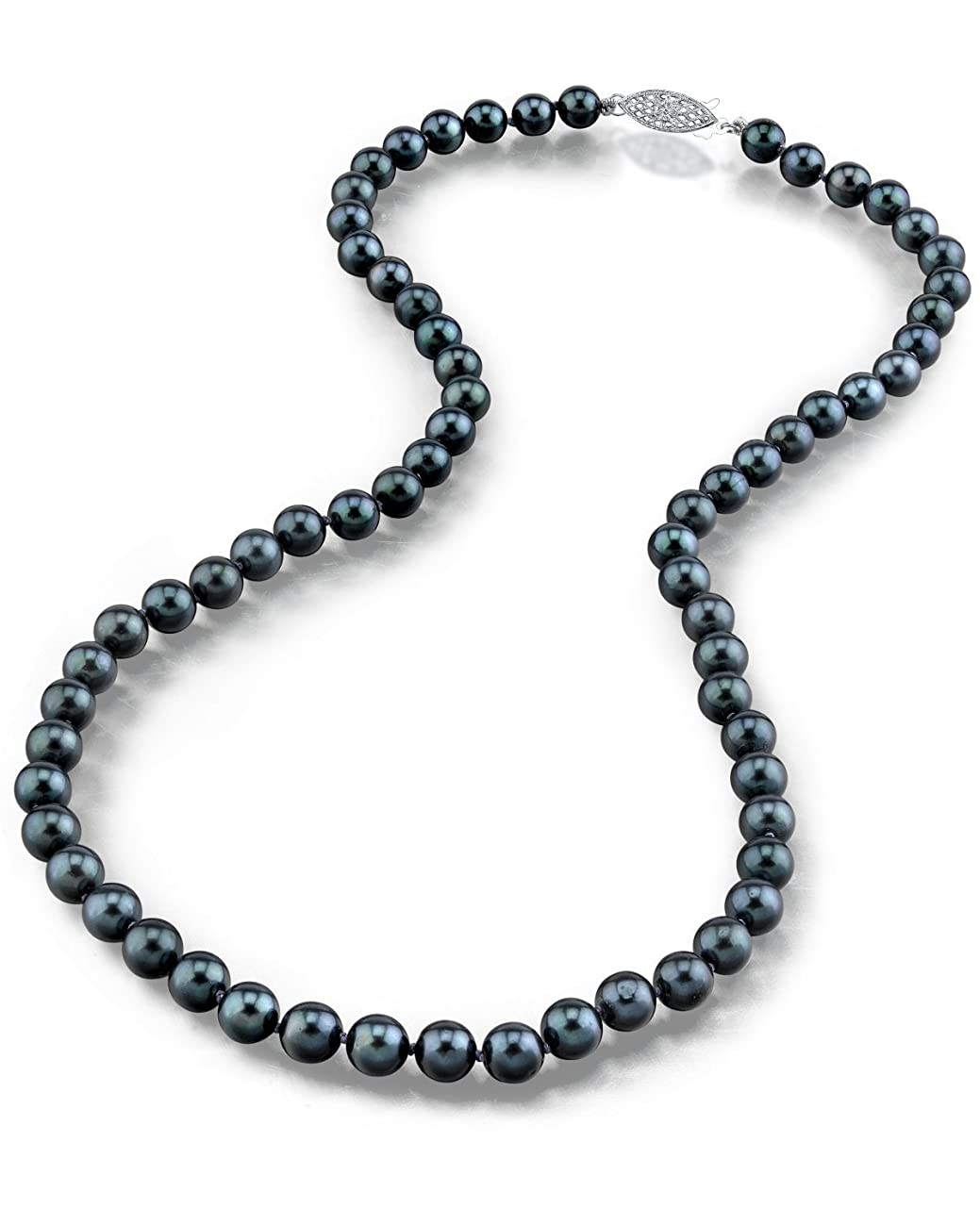THE PEARL SOURCE 14K Gold Round Genuine Black Japanese Akoya Saltwater Cultured Pearl Necklace in 18