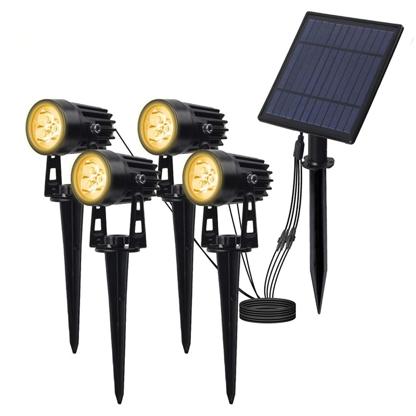 ライセンス仮定する強要ソーラーセンサーライト、LEDグランドライトプラグ、角度調節、IP65防水、1つの照明で4、芝生と庭パスの照明,Warm light