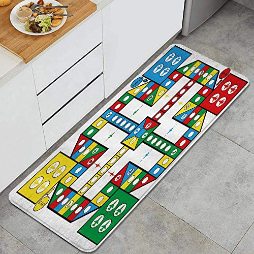 Anti-Müdigkeit Küche Bodenmatte,Flight Chess Competitive Game Intellektuelle Entwicklung für Kinder Erwachsene Spielzeug Vier Farben,Rutschfest Gepolstert Tür Schlafzimmer Bad Teppich Pad,120 x 45cm