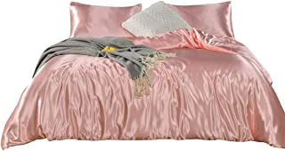 Pink Bedding Silk Like Satin Duvet Cover Set Light Pink Silky Microfiber Quilt Cover Pink Girls Bedding Sets Queen (90