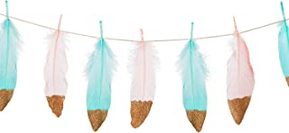 Ling's moment 10FT Feather Garland Rose Gold Glitter Dipped Light Pink and Blue Feather Banner for Boho Wedding/Party/Baby Shower/Nursery Decor, Teepee Decorations