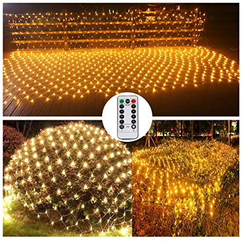 XLM Red de Luces LED para Exterior 3x2m con Control Remoto, Luz Exterior Jardin con EU Enchufe 8 Modos Impermeables Luces de Red Luces de Navidad para Casa Fiesta Jardín BodaWarm Yellow