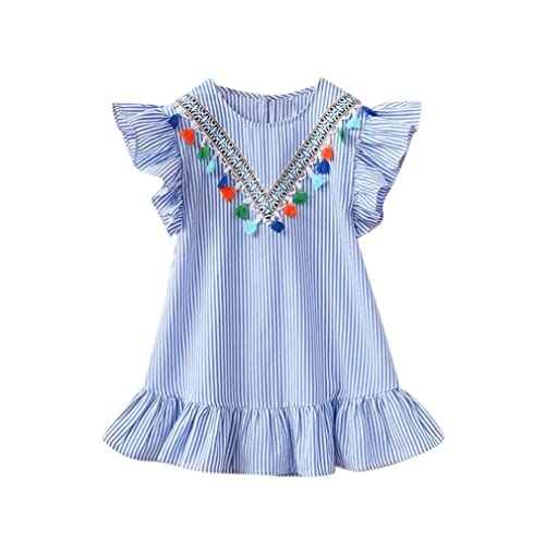c07c90e648 Kobay Baby Girls Stripe Tassel Ruffles Princess Dresses, Baby Girls Toddler  Baby Girls Sleeveless Casual