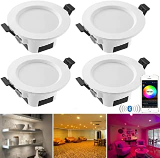 INDARUN Bluetooth Mesh Recessed RGBWC Downlight, Multifunctional Dimmable 5W 350LM 2700K-6500K Daylight Easy Retrofit Installation Ceiling Lights for Corridor Kitchen Living Room Bar - 4 Pack