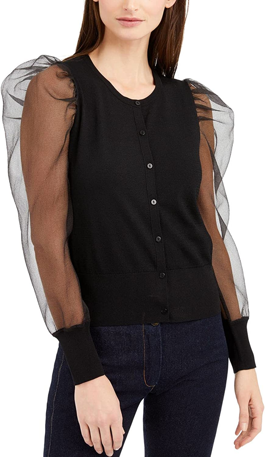 INC Womens Sheer Sleeves Button-Down Cardigan Sweater Black L