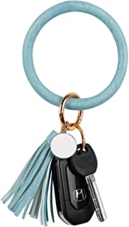 LNEKEI PU Leather Key Ring Bracelet | Wristlet Keychain | Large Leather Tassel Keychain | Gifts for Women, Girls.