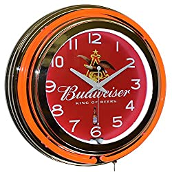 Budweiser King of Beers Red Double Neon Advertising Clock Man Cave Bar Decor