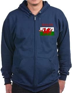 Wales Rugby Zip Hoodie (Dark) - Zip Hoodie, Classic Hooded Sweatshirt with Metal Zipper